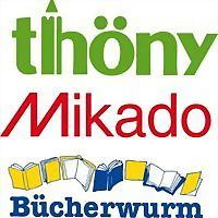 Logo 14) Papeterie Thöny, Bücherwurm, Mikado